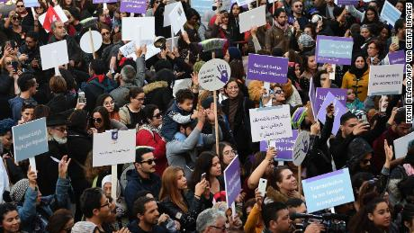 Tunisians gather against sexual harassment in the capital Tunis on 30 November 2019.