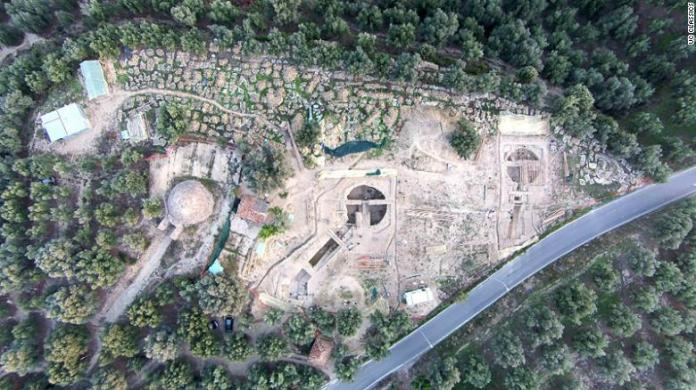 """An aerial view of the site showing the two """"princely"""" tombs beside a tomb discovered in 1939 by UC archaeologist Carl Blegen."""