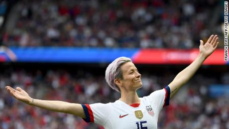 Rapinoe celebrates scoring her team's first goal during the 2019 Women's World Cup quarter-final against France.