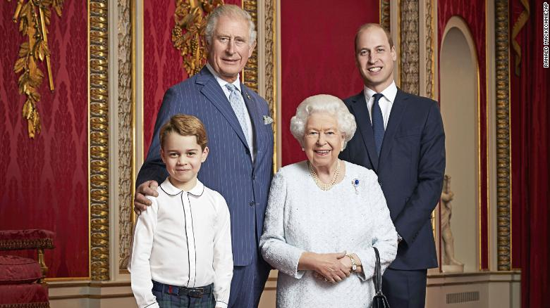 Britain's Queen Elizabeth, Prince Charles, Prince William and Prince George pose for a photo to mark the start of the new decade at Buckingham Palace in London. This is only the second time such a portrait of the monarch and the next three in line to the throne has been released.