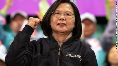 President Tsai Ing-wen gestures on stage during a rally on Wednesday, January 8, in Taoyuan, Taiwan, ahead of Saturday's presidential election.