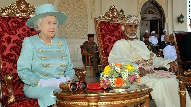 Queen Elizabeth II and Qaboos in Oman in 2010.
