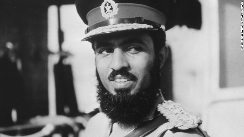 A portrait of Qaboos Bin Said Al Said in military uniform, circa 1970.