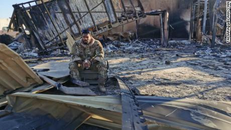 Sergeant Ferguson is among the charred metal on the site of the housing unit destroyed by pilots and drone operators.