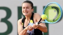 Dalila Jakupovic en action lors de l'Open de France de l'année dernière à Roland Garros.