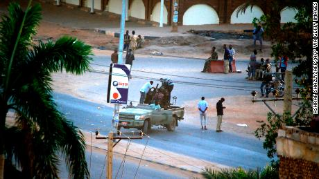 Members of Sudan's intelligence services in the Riyadh district in  Khartoum on Tuesday.
