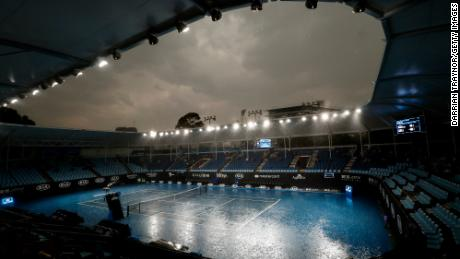 Heavy rains fall before the Australian Open 2020 at Melbourne Park on January 15, 2020.