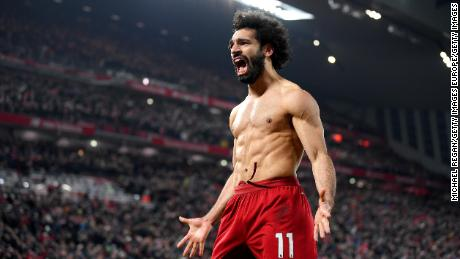 Mo Salah celebrates after scoring Liverpool's second.