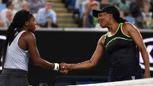 Coco Gauff (left) and Venus Williams -- the oldest and youngest players in the Australian Open women's draw -- shake hands after the 15-year-old's victory.