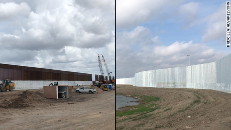 The Trump administration is building a border wall with federal funds (left). On right, a private wall being constructed by Fisher Industries is seen near the Rio Grande river.