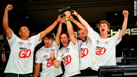 Team United celebrates after winning WCT 4 in London.