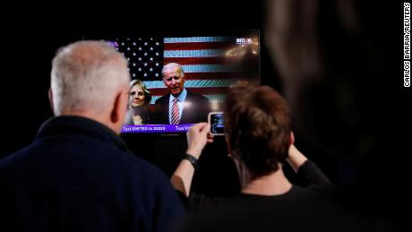The Bidens speak to supporters in a televised message at a New Hampshire primary rally on February 11, 2020.