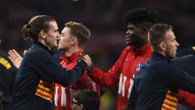 FC Barcelona's Antoine Griezmann shakes hands with ex-teammate Partey before the La Liga game against Atletico at Wanda Metropolitano on December 01, 2019.