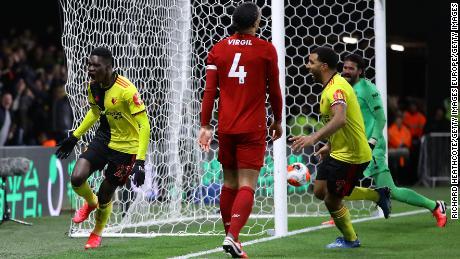 Ismaila Sarr celebrates scoring against Liverpool.