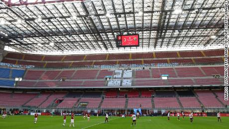 A general view of play in the empty stadium in Milan.