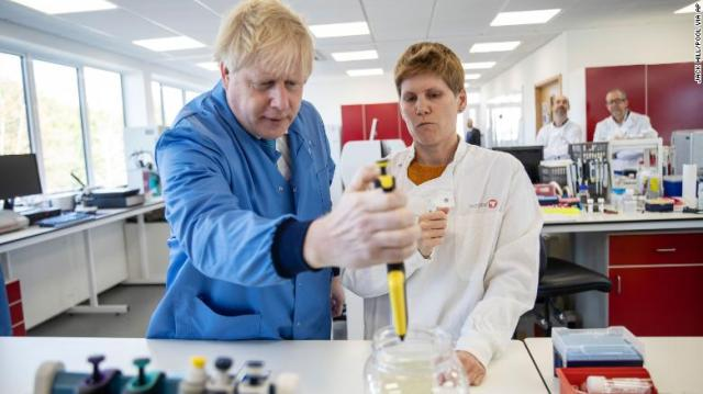 Boris Johnson visits the Mologic Laboratory on March.