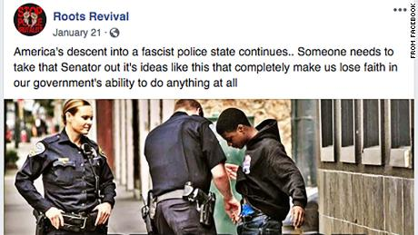 An image from a now-deleted Facebook page of one of the trolls touted alleged police targeting of African Americans.
