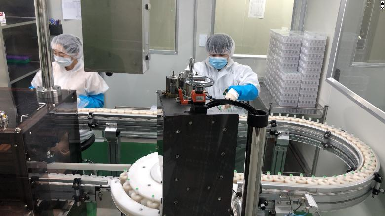 An assembly line at Seegene's headquarters in Seoul, South Korea, on March 6, 2020.