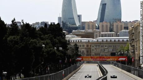 Valtteri Bottas and Sergey Sirotkin drive on track during practice for the Azerbaijan Formula One Grand Prix in 2018.