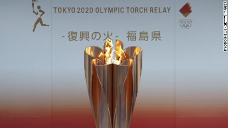Olympic flame on display in Fukushima on March 24, 2020.