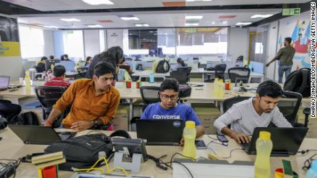 Flipkart employees working at the company's headquarters in Bengaluru in 2017.
