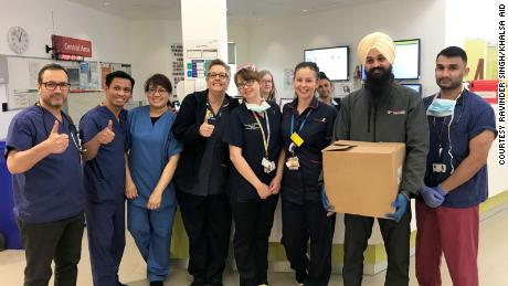 Volunteers from Khalsa Aid dropped off supplies at Northwick Park Hospital, in west London, England.