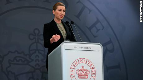 Denmark's Prime Minister Mette Frederiksen speaks during a coronavirus press conference, in Copenhagen, Denmark, on Monday.