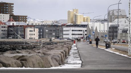 Route de Saebraut in the Icelandic capital Reykjavik on April 3 as a ban on assembling more than 20 people is in effect.
