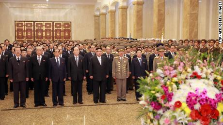 This April 15, 2017 photo published by the official Korean Central News Agency for North Korea shows North Korean leader Kim Jong Un visiting the Kumsusan Sun Palace in Pyongyang to celebrate the late president's 105th birthday Kim Il Sung.