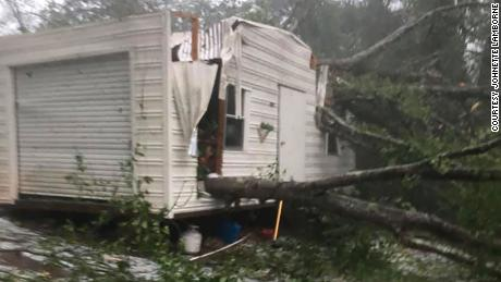Johnette Lamborne said the storm caused damage to her home, car and storage shed in Alexander City, Alabama, on Sunday.