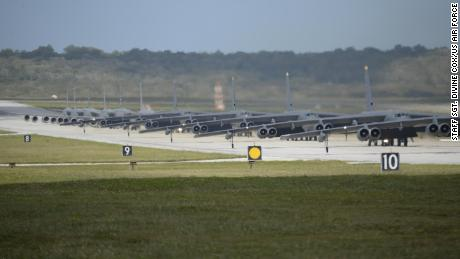 """US military drones, helicopters, bombers and tankers stationed at Andersen Air Force Base, Guam, perform an """"Elephant Walk"""" April 13, 2020."""