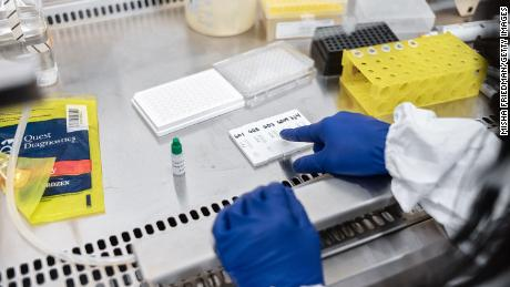 Scientists at the Mirimus, Inc. laboratory are working to validate rapid IgM / IgG antibody tests of COVID-19 samples from patients collected on April 10, 2020 in New York.