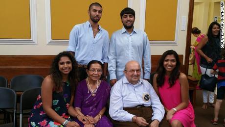 Suri Nathwani celebrates its 80th birthday with its grandchildren in August 2018.
