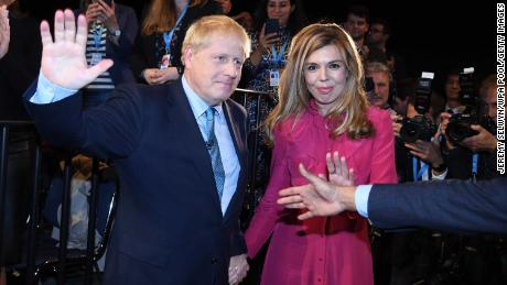 Boris Johnson with his wife Carrie Johnson following his keynote speech at the 2019 Conservative Party Conference in Manchester.