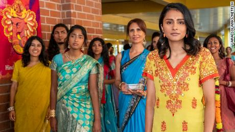"Maitreyi Ramakrishnan (third from left) stars in ""Never Have I Ever."""