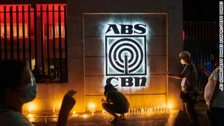 Supporters gather in front of ABS-CBN's main office  on May 5 in Manila, Philippines.