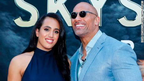Actor Dwayne Johnson and his daughter Simone Alexandra Johnson attend the premiere of 'Skyscraper' in New York, on July 10, 2018.