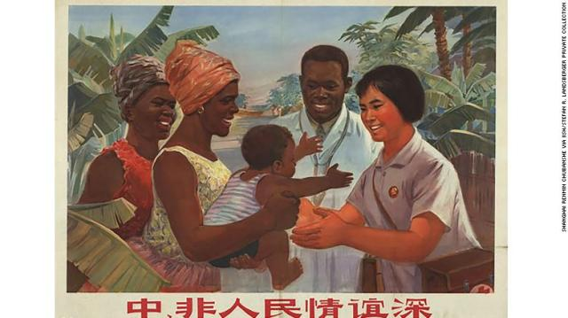 A Chinese propaganda poster promotes the medical aid Beijing offered to Africa during the 20th century.