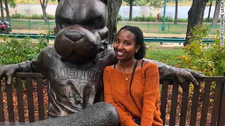 Shadae Leslie sits on the Rhett Bench at Boston University at the start of her senior year.