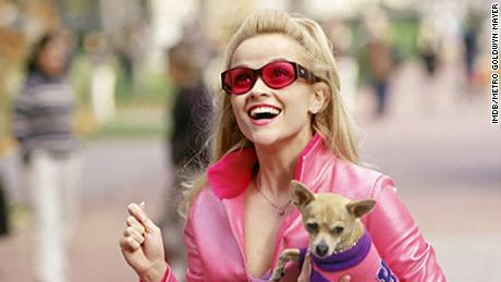 "Reese Witherspoon, in character as Elle Woods, carries canine actor Moonie, a.k.a. Bruiser Woods, in a scene from ""Legally Blonde."""