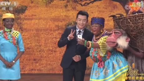 A still image from the annual Chinese New Year gala on CCTV in 2018 which drew ire after a Chinese woman appeared in black face.