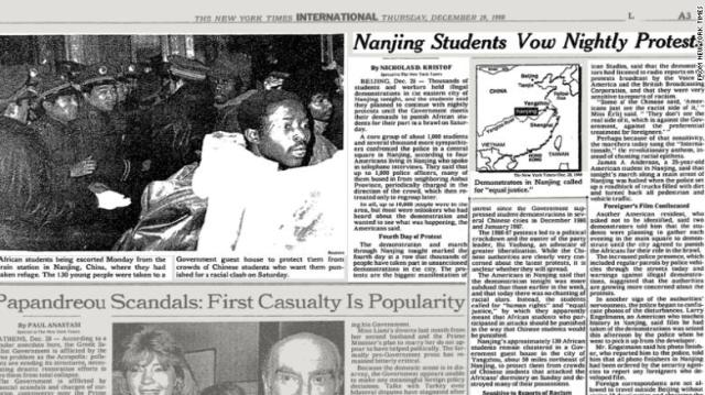 The New York Times reported on nightly protests in Nanjing after Chinese students clashed with Africans.
