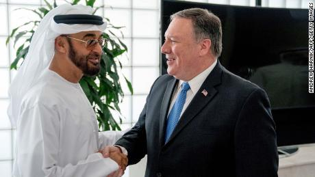 Mike Pompeo (R) pictured with the UAE's Crown Prince Mohammed bin Zayed in 2018.
