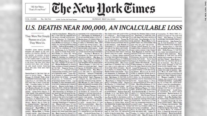 New York Times publishes edition with names of 1,000 coronavirus victims -  CNN