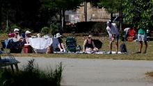 Park goers enjoy a picnic at Historic Fourth Ward Park in Atlanta.