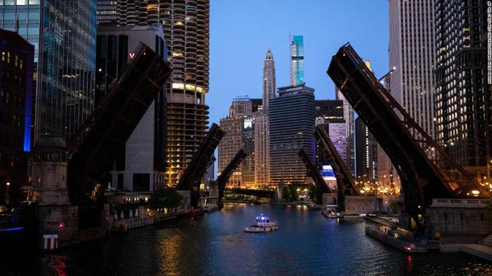 Bridges over the Chicago River are lifted to limit transportation to and from the Loop, where protesters clashed with police on May 30.