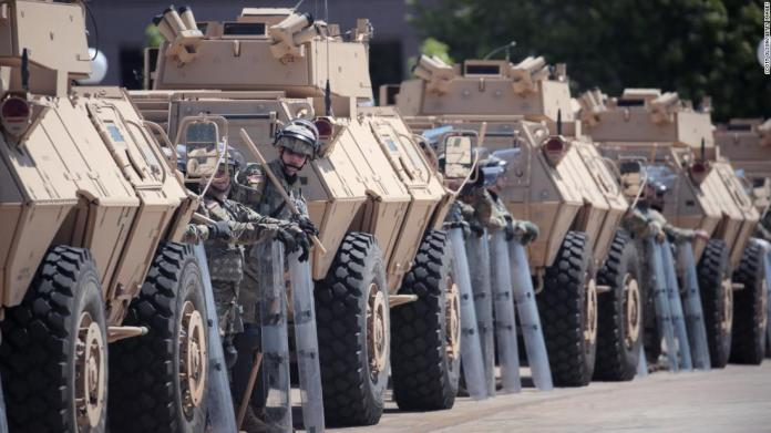 Armored vehicles from the Minnesota Army National Guard surround the Capitol in St. Paul on May 31.