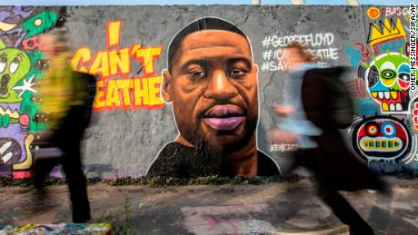 A mural of George Floyd painted by the artist eme_freethinker on a wall at Mauerpark in Berlin, Germany.