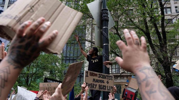 Protesters gather near Manhattan's Foley Square in New York on June 2.