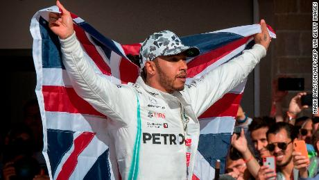 Hamilton celebrates after being crowned World Champion.